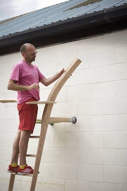 Abe Rogers and The Ladder That Likes The Wall, designed and made by Xenia Mosely, American red oak, The Wish List, LDF 2014.