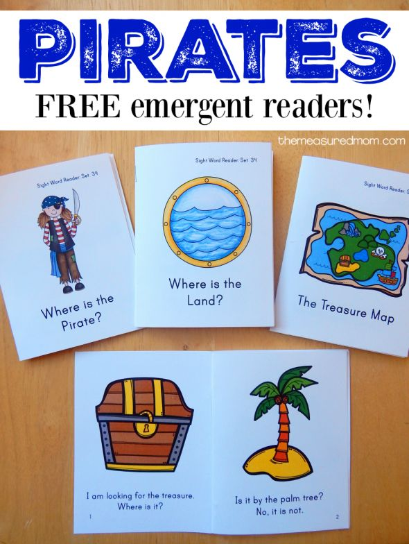 FREE pirate emergent reader books for kids. Perfect for new readers!