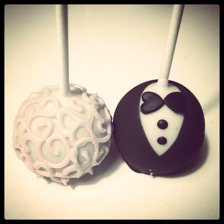 Wedding cakepops Black and white lui e lei