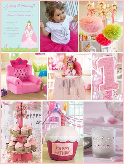 Pink Princess First Birthday Party Inspiration Mosaic Birthday Girl Ideas
