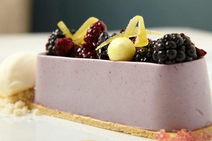 cornmeal black pepper sable, lemon crème, sweet buttermilk ice cream ...