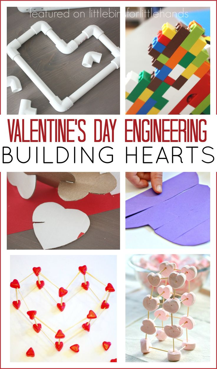Cool building hearts Valentines Day STEM activity for kids. Valentines engineering activities   for Valentine's Day activities. Valentines Day STEM challenges for kids make a great Valentines activity.