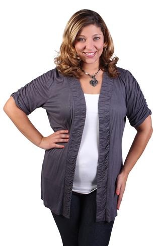 plus size ruched sleeve and placket cozy: Layered Sweaters, Front Cardigans, Ruched Sleeve, Size Ruched, Cute Sweaters, Sleeve Open, Plus Size Style, Girls Style