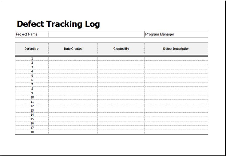 Defect tracking log DOWNLOAD at http\/\/wwwxltemplatesorg\/defect - repair log template
