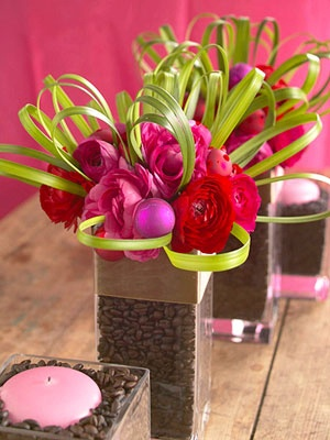 Love the idea of using coffee beans as vase filler.  Could also use jelly beans in green or pink.