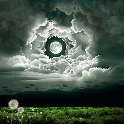 moon peeping through the clouds
