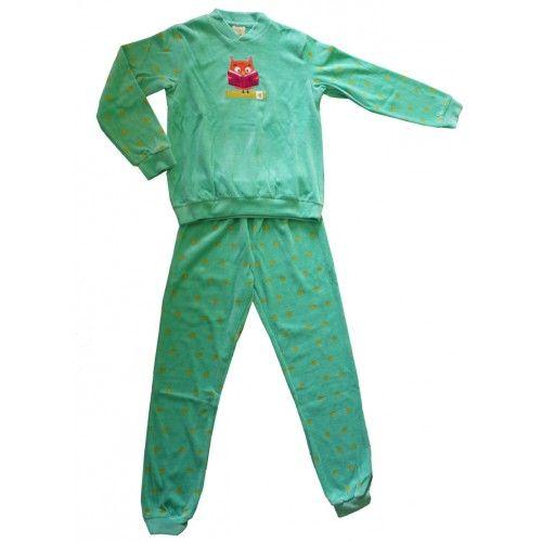 Warme kinderpyjama uiltje groen - velours http://www.pyjamaonline.nl/warme-kinderpyjama-met-uiltje.html