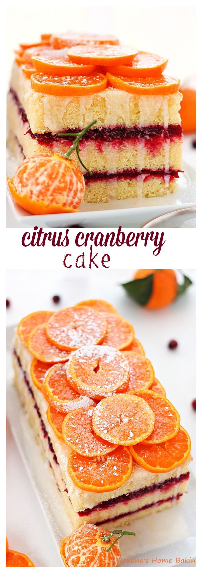Citrus cranberry layer cake - a light and refreshing citrus cake sandwiched with tart cranberry sauce for an explosion of flavors and textures.