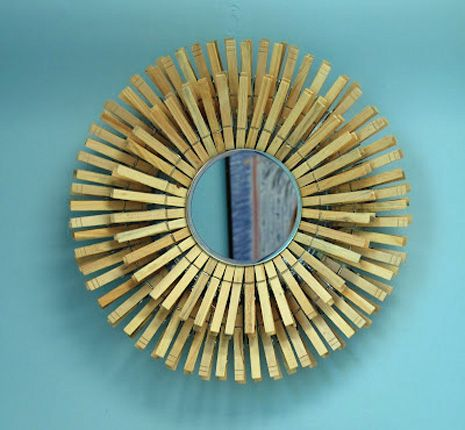 Another clothespin sunburst mirror!    May ask my hub to see which one he likes the best...hopefully it is an easier one!  ;o)