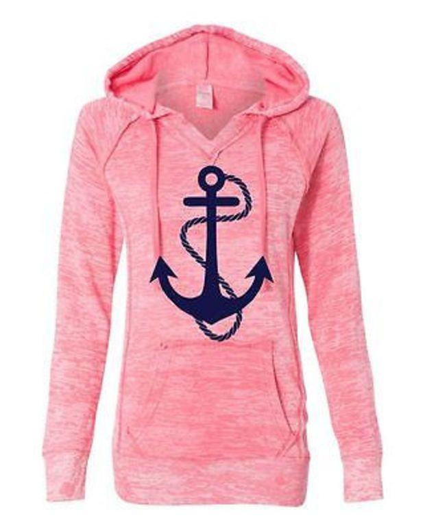 Women's Deep Coral Anchor Hoodie Sweatshirt Anchor