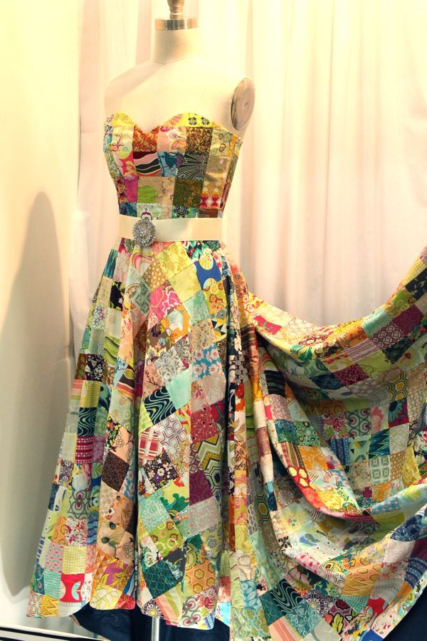 Patchwork dress. Love the smaller patches for clothing. Would look fab as a skirt!