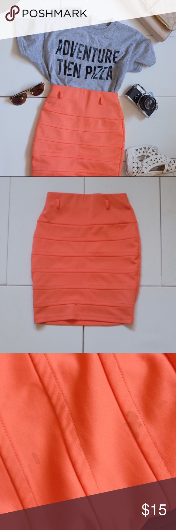 Salmon / coral bodycon bandeau skirt w/belt loops Salmon / coral bodycon bandeau skirt w/belt loops. A few stains (front & back) but I'll try to get them out. If they come out pics & description will be updated to reflect the changes. Skirt is a coral salmon pink orange color. Very pretty and true to color in pics - different phone screens may effect color. The belt loops are a plus! It adds so much style to the skirt on top of the bold color! Skirts Pencil