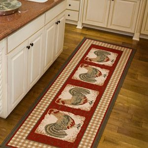 Orian Country Rooster Runner Rug, Spanish Red, 1u002711