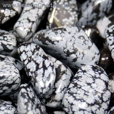"Snowflake Obsidian - Volcanic in origin. Helps to draw emotions to the surface & examine harmful thought patterns. Good for past life work. Heals old karmic patterns. Called the ""stone of purity"". Associated with the skeletal and vascular systems. Supports smooth skin. Calms and soothes when working with the Sacral Chakra. Good for working with the Root Chakra."