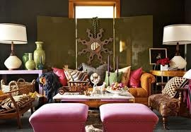 I love how all the patterns accent each other. Perfection.: Color Rooms, Living Rooms, Decor Ideas, Living Spaces, Bright Color, Bohemian Living, Bold Color, Interiors Design, Eating Places