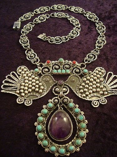 Vintage Design Taxco Mexican Sterling Silver Amethyst Bird Necklace Mexico 595 Vintage