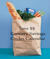 Grocery Savings Calendar with month by month tips to help you save money.  Print this!