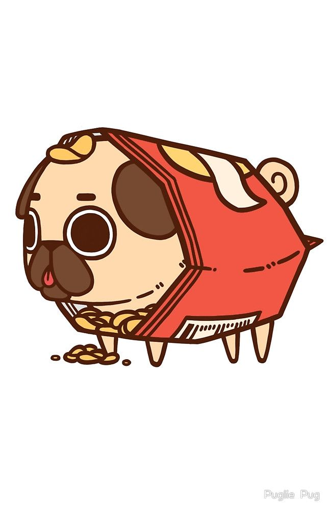 Puglie Chips by Puglie Pug Cute animal drawings, Pugs