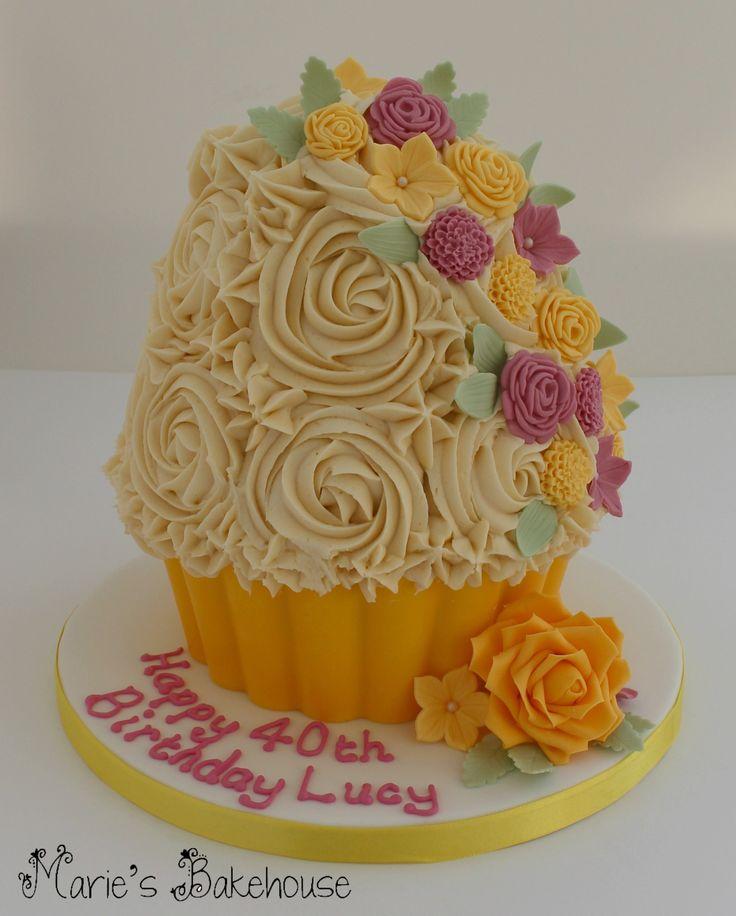 Lemon giant cupcake for 40th birthday www.facebook.com/MariesBakehouse www.mariesbakehouse.co.uk