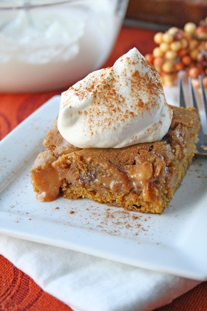 Caramel Pumpkin Blondies with Chocolate and Walnuts