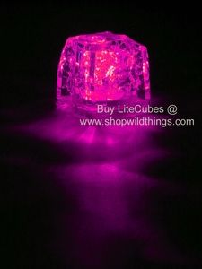LED Ice Cube LiteCubes - Pink Light - Flashing or Steady - Waterproof, Freezable use these in your pink party drinks http://www.shopwildthings.com/ledicecubepink.html#