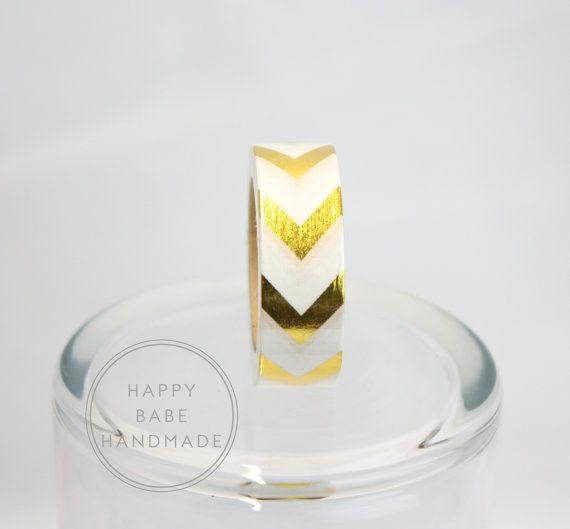 Chevron Washi Tape oro nastro Washi 10 iarde di HappyBabeHandmade