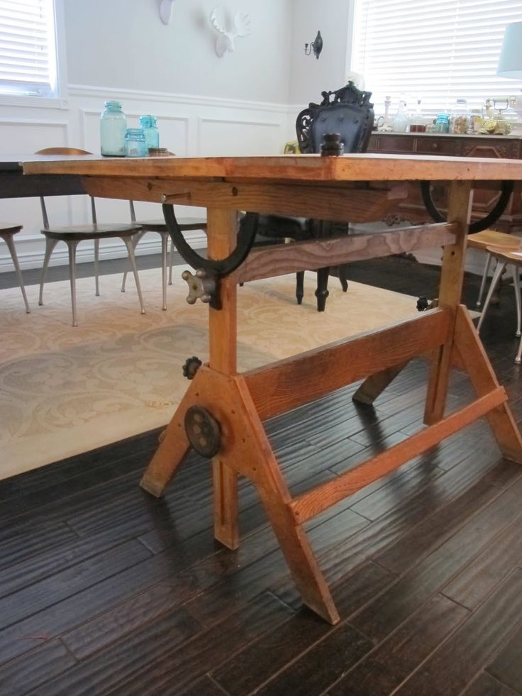 Vintage Drafting Table Turned Dining Table
