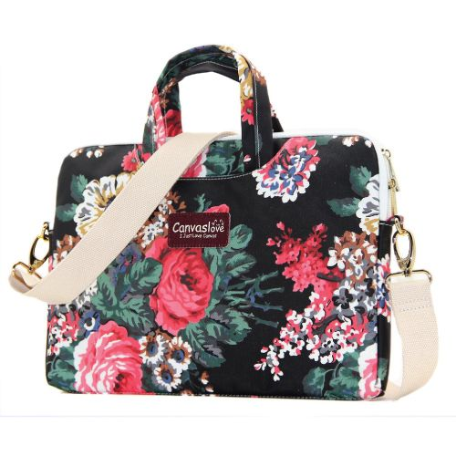Pretty Black Rose Laptop Messenger Bag good for college use (Christmas gifts for college girls)