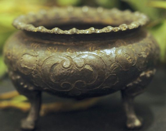 Antique Cauldron for a Wiccan Altar Ritual by greenwomancrafts