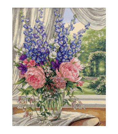 Dimensions Gold Collection Peonies/Delphiniums Counted Cross Stitch Kit