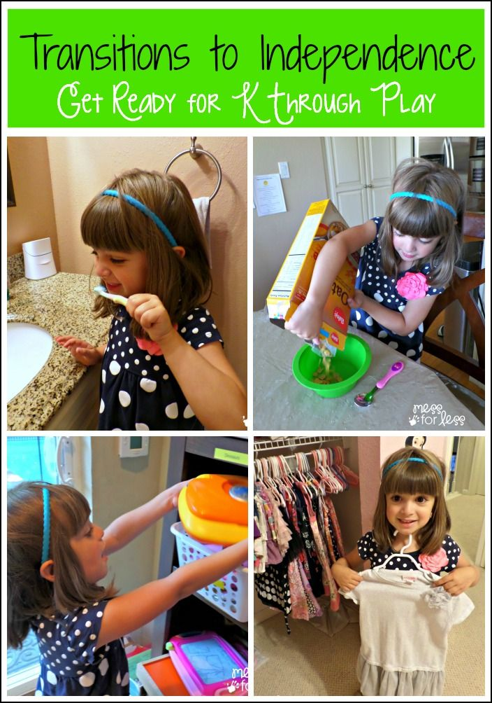 Transitions to Independence for Kids - Get Ready for K Through Play : Small ways to help kids grow independent in many areas of their lives....