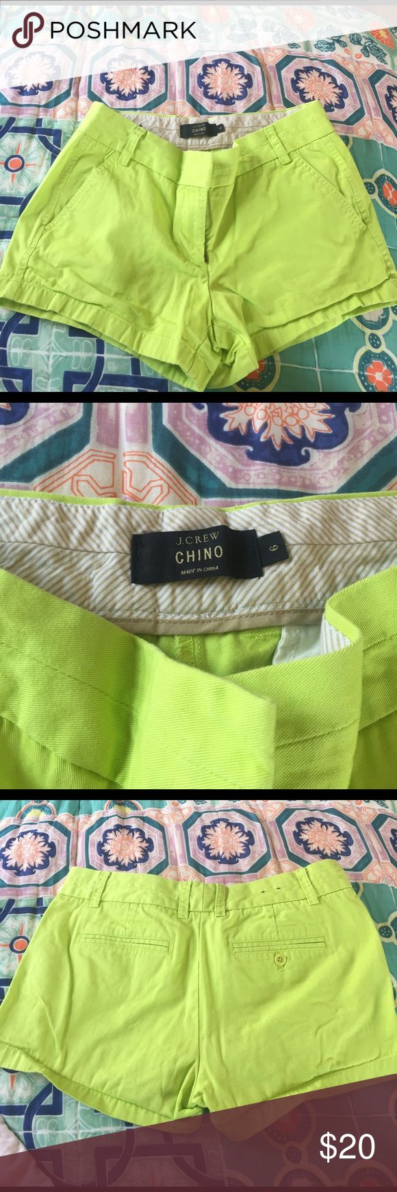 J. Crew neon green chino shorts Great condition. Chino shorts. 100% cotton. Many other colors available J. Crew Shorts