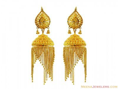22K Designer Jhumka Earrings ( 22Kt Gold Fancy Earrings )