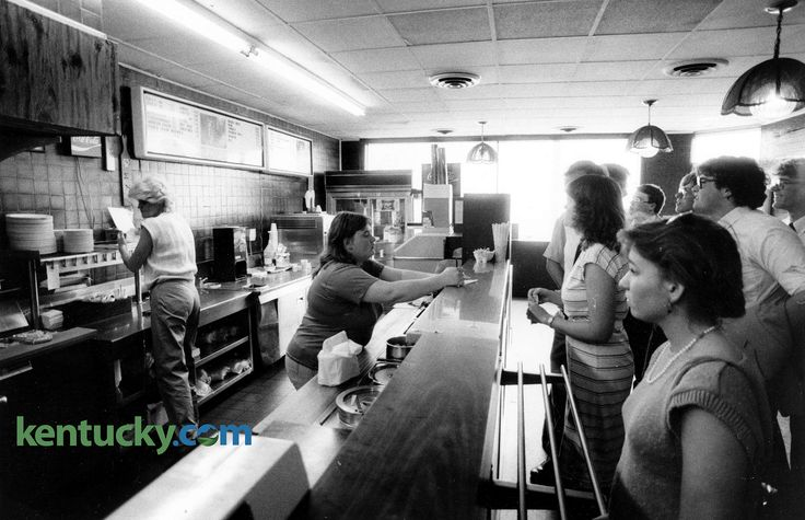 Original Tolly-Ho 1985 on last day in old location 850511Tolly-HoA.jpg (2048×1322) Ellen Johnson, center, took orders at the counter of Lexington's Tolly-Ho restaurant, on the last day at its original spot, March 11, 1985. It opened in 1971 at  what was then 108 West Euclid Avenue, today known as Winslow Street. Photo by J.D. VanHoose   Staff