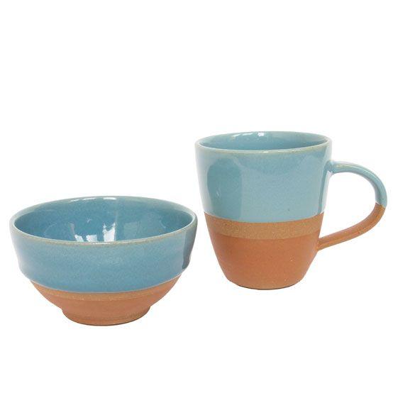 mug bowl terracotta half glazed blue