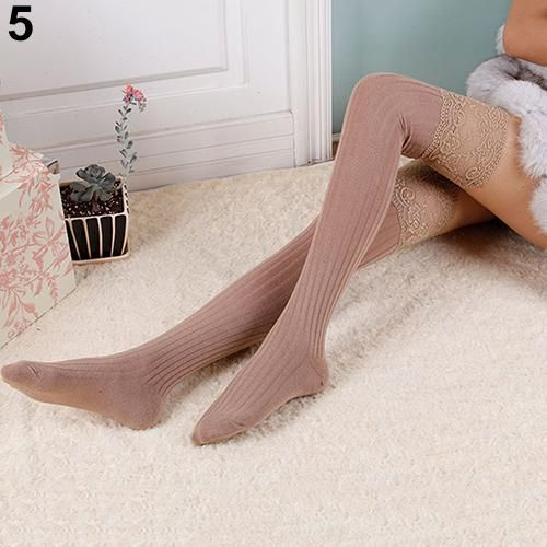 Arrival Women Knitting Lace Cotton Over Knee Thigh High Socks Pantyhose 6YPZ