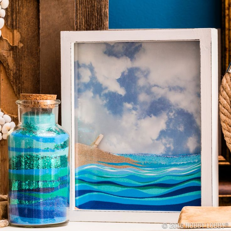Back a unity box with scrapbook paper & fill with colorful sand for a beach-y #DIY!