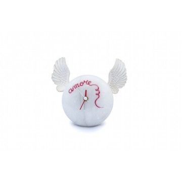 """Hand-decorated table clock - White wings """"Love"""""""