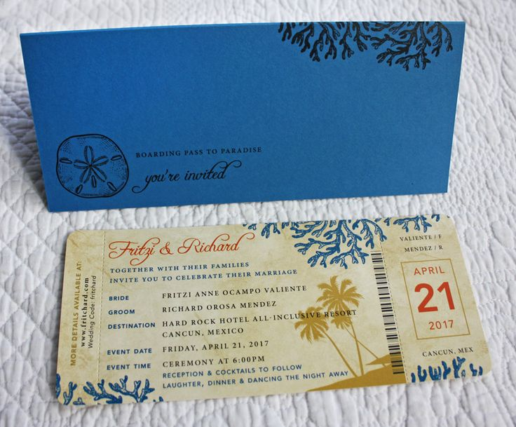 Blue, Orange & Gold Palm Trees Coral & Sand Dollar Antique Boarding Pass Wedding Invitations