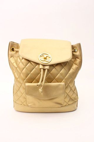 Vintage Chanel Gold Backpack at Rice and Beans Vintage