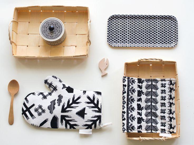 Saana ja Olli textiles, VAJA Finland ceramics, Nämä Designs tray, Finnish baskets and spoons.