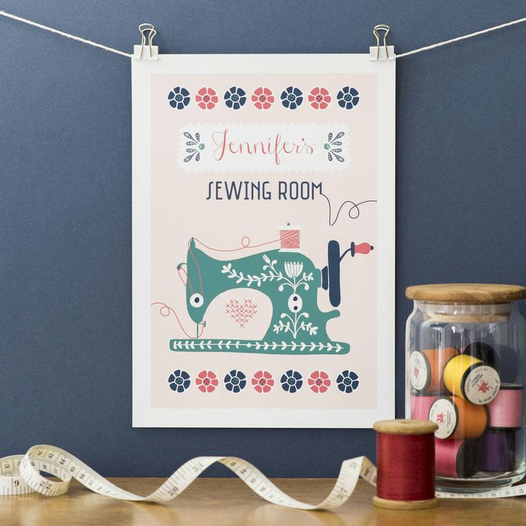 personalised sewing machine print by jane farnham | notonthehighstreet.com