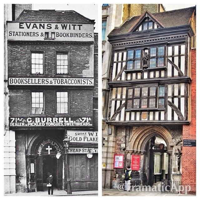 The gatehouse of St Bartholomew-the-Great, West Smithfield - built 1595, the front was bricked over at some point before being restored to its half-timbered state in 1916 #london #history #architecture #londoncitychurches