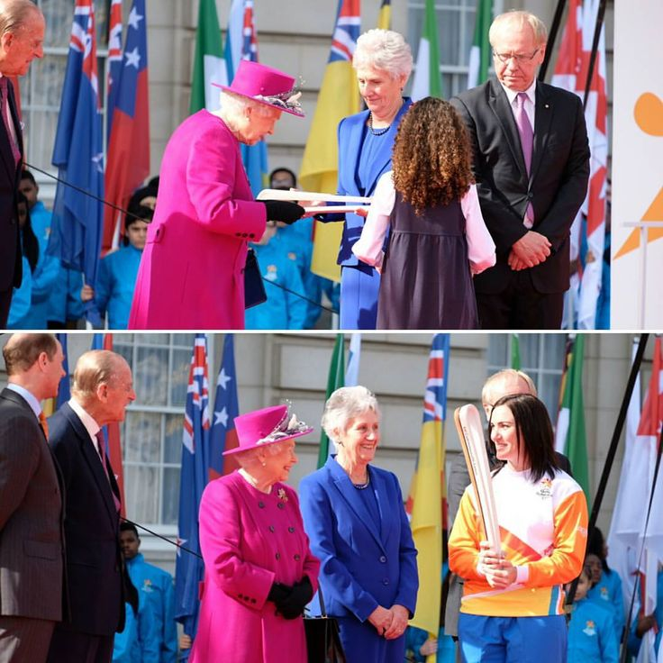Since 1958 The Queen's Baton has carried a message from Her Majesty calling the Commonwealth's athletes to come together in a peaceful and friendly competition. School girl Emily presented HM with her message which won't be revealed until the opening ceremony of @gc2018  Cyclist Anna Meares was the first to carry the Baton out of Buckingham Palace, ready for its relay. #commonwealthday