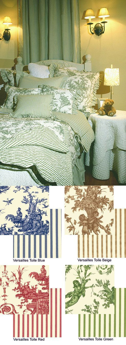 Versailles Toile Collection - Available in Green, French Blue, Antique Beige & Rose/Red by Linge at Bedding Super Store.com