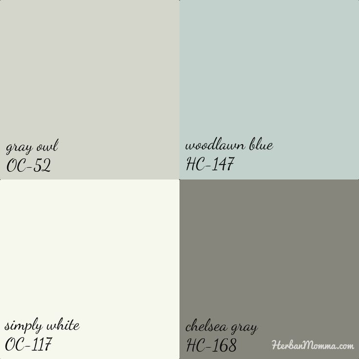 Finally made decisions on the paint colors for the renovations. Gray owl & Chelsea gray (main living space and master bedroom), woodlawn blue (bathrooms) with ceilings and trim simply white. all colors by Benjamin Moore. @Kristin Plucker@HerbanMomma.com