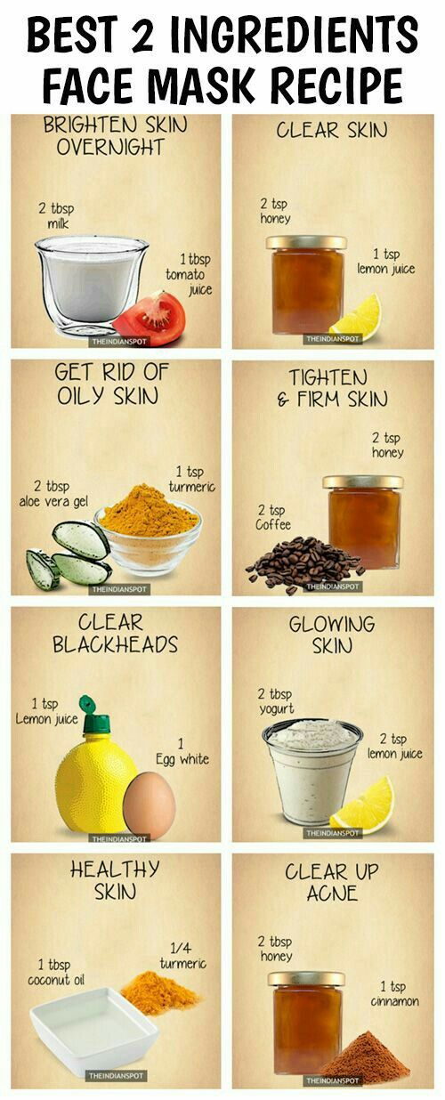 "Try these wonderful verities of facemasks. There is a recipe here that can cater to everyone and all types of skin. My personal favorite is ""Glowing Skin"" recipie. Best of all we all have these ingredients laying around the house!"