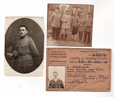 WWI FRENCH MILITARY VETERAN WAR VICTIMS ID CARD & REAL PHOTO POSTCARDS LOT 1936