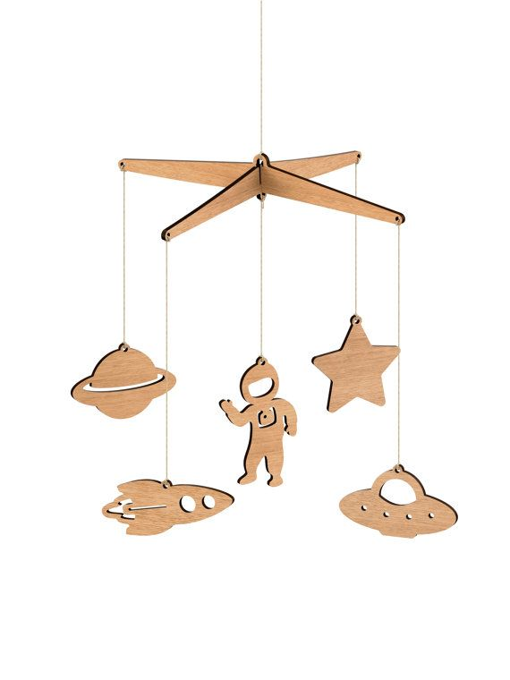 Wooden Space Nursery Baby Mobile  Tasmanian Oak / by ByrneWoodware