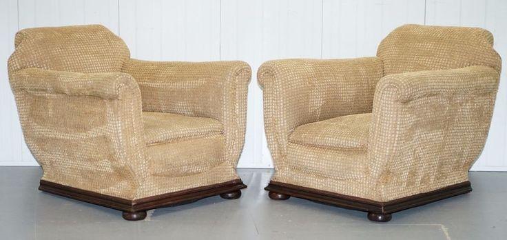 Pair of period 1910 edwardian gentleman's club armchairs coil sprung base velvet